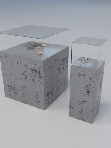 Витрина из бетона со стеклом